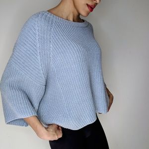 Free People Knit Baby Blue 3/4 Sleeves Sweater